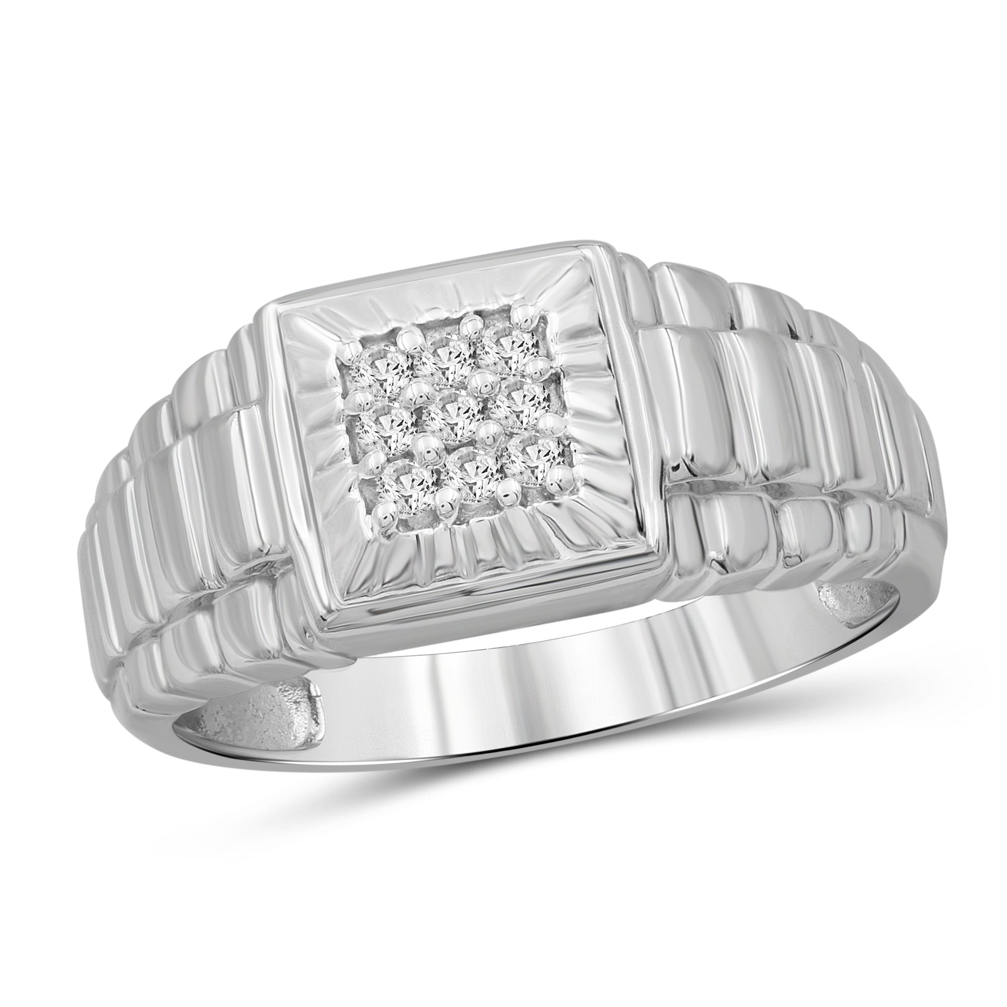 Jewelnova 1/7 Carat T.W. White Diamond 10k White Gold Men's Ring