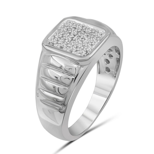 Jewelnova 1/4 Carat T.W. White Diamond 10k White Gold Men's Ring