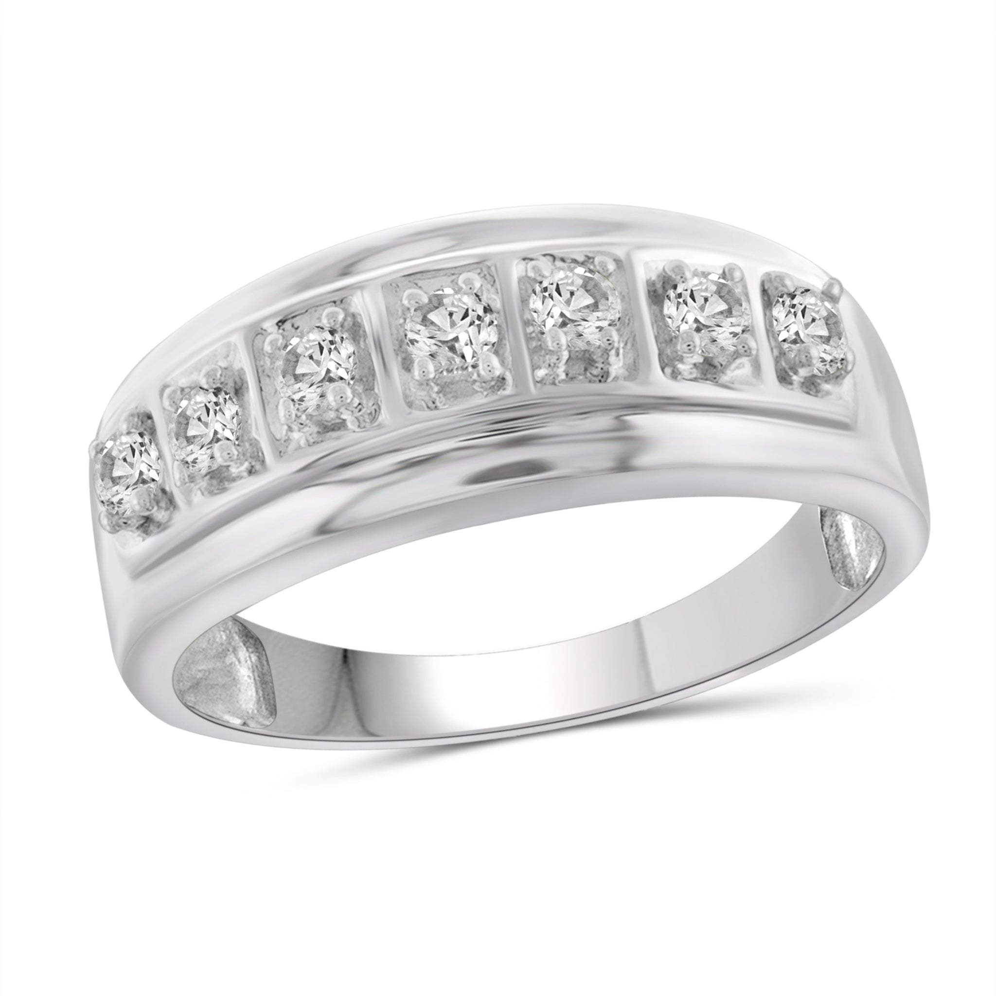 Jewelnova 1/2 Carat T.W. White Diamond 10k White Gold Men's Ring