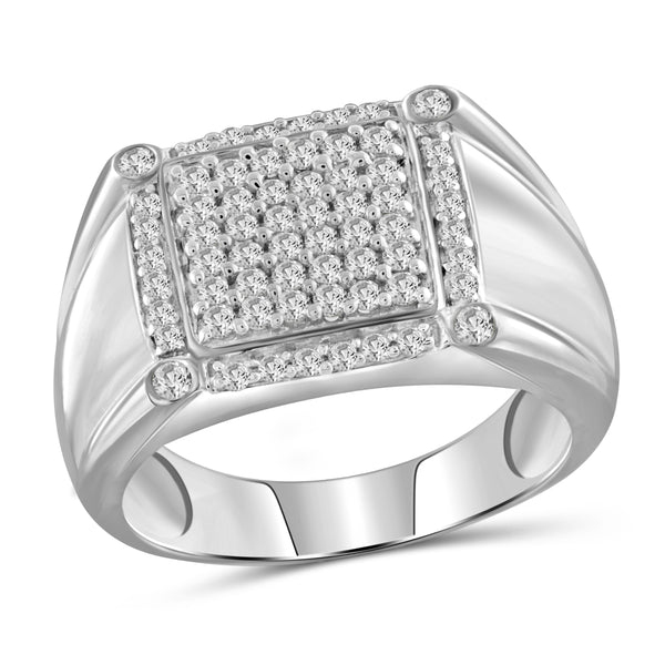 Jewelnova 1.00 Carat T.W. White Diamond 10k white Gold Men's Ring