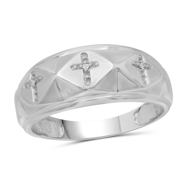 Jewelnova Accent White Diamond 10k White Gold Men's Ring - Assorted Colors