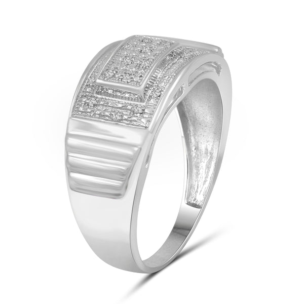 Jewelnova 1/20 Carat T.W. White Diamond 10k White Gold Men's Ring