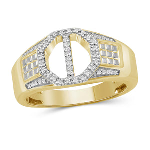 JewlersClub 1/7 Carat T.W. White Diamond Two Tone Silver Men's Ring