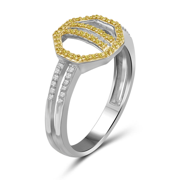 JewelonFire 1/5 Carat T.W. Yellow And White Diamond Sterling Silver Octagon Ring