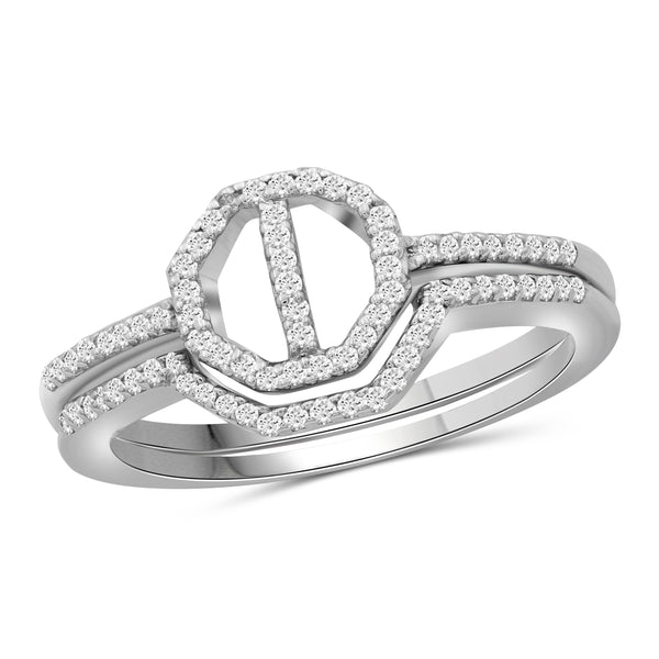 JewlersClub 1/7 Carat T.W. White Diamond Sterling Silver Octagon Ring - Assorted Colors