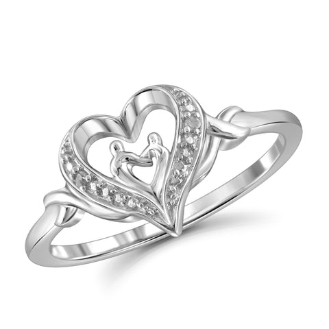 JewelonFire White Diamond Accent Sterling Silver Mother and Child Heart Ring - Assorted Colors