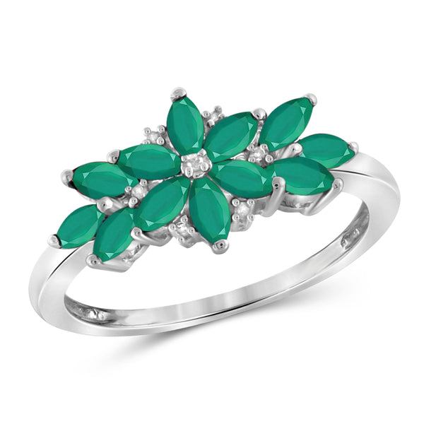 JewelonFire 0.95 Carat T.G.W. Emerald And 1/20 Ctw White Diamond Sterling Silver Ring - Assorted Colors
