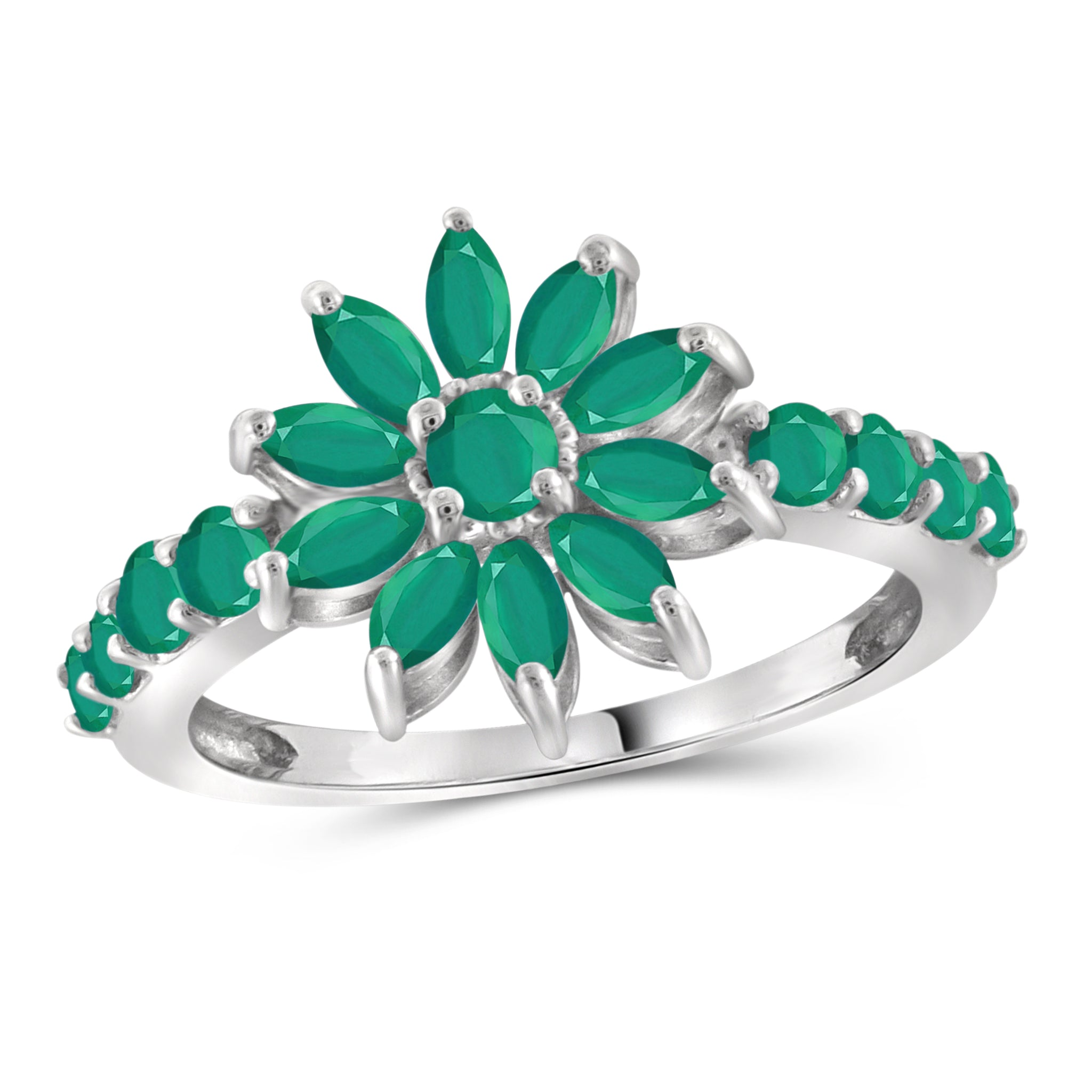 JewelersClub 1.55 Carat T.G.W. Emerald Sterling Silver Flower Ring - Assorted Colors