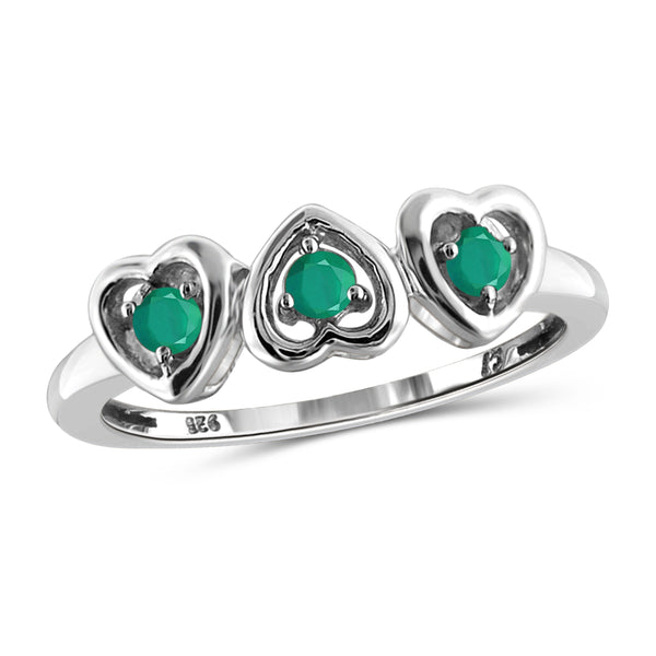 JewelonFire 0.25 Carat T.G.W. Emerald Sterling Silver Heart Ring - Assorted Colors