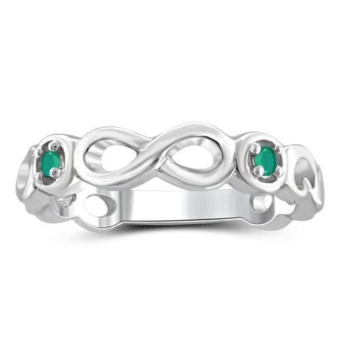 JewelersClub 0.12 Carat T.G.W. Emerald Sterling Silver Infinity Ring - Assorted Colors