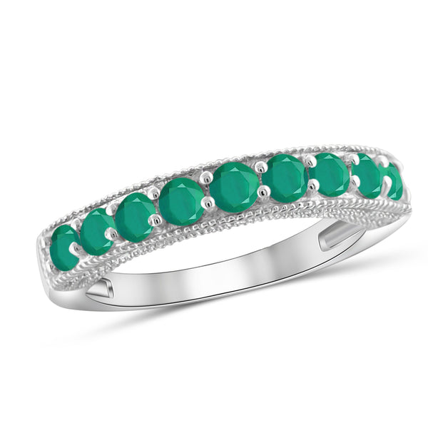 JewelonFire 0.90 Carat T.G.W. Emerald Sterling Silver Band - Assorted Colors