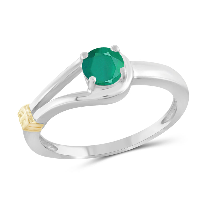 JewelersClub 0.50 Carat T.G.W. Emerald Two Tone Sterling Silver Ring