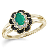 JewelersClub 0.40 Carat T.G.W. Emerald And 1/10 Carat T.W. Black & White Diamond Sterling Silver Ring - Assorted Colors