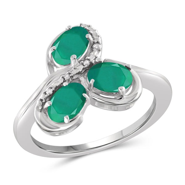 JewelonFire 1.15 Carat T.G.W. Emerald And Accent White Diamond Sterling Silver 3-Stone Ring - Assorted Colors