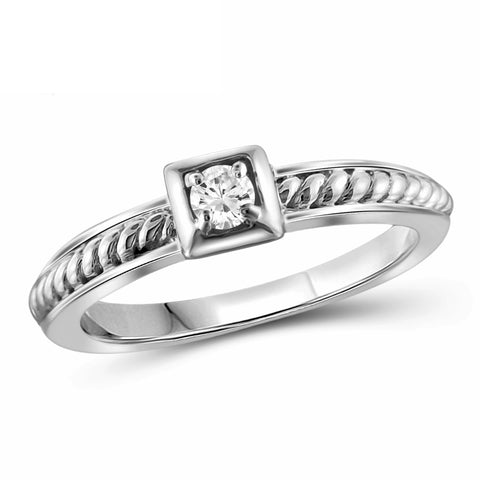 JewelersClub 1/10 Carat T.W. White Diamond Sterling Silver Stackable Ring - Assorted Colors