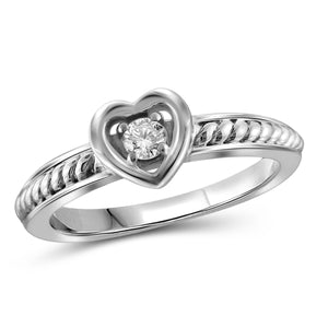 JewelonFire 1/10 Carat T.W. White Diamond Sterling Silver Heart Stackable Ring - Assorted Colors