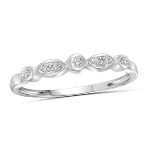 JewelonFire 1/10 Carat T.W. White Diamond Sterling Silver Stackable Band - Assorted Colors
