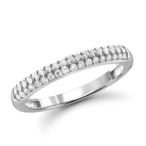 JewelonFire 1/4 Carat T.W. White Diamond Sterling Silver Wedding Band - Assorted Colors
