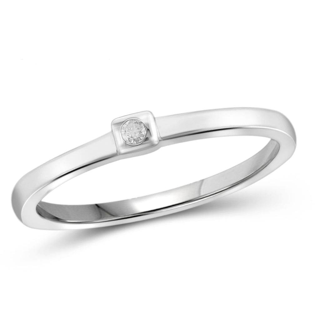 JewelersClub White Diamond Accent Sterling Silver Stackable Ring - Assorted Colors