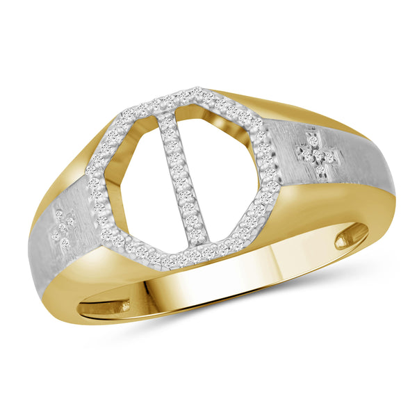 JewelonFire 1/7 Carat T.W. White Diamond Two Tone Silver Men's Ring