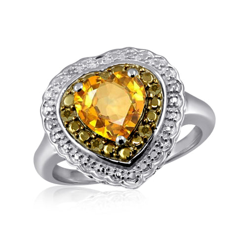 JewelersClub 1 1/2 Carat T.G.W. Citrine And 1/7 Carat T.W. Champagne & White Diamond Sterling Silver Ring