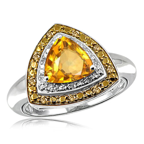 JewelonFire 2 3/4 Carat T.G.W. Citrine And 1/7 Carat T.W. Champagne & White Diamond Sterling Silver Ring