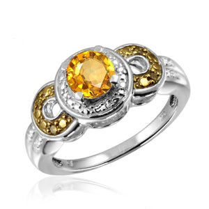 JewelonFire 3/4 Carat T.G.W. Citrine And Champagne & White Diamond Accent Sterling Silver Ring