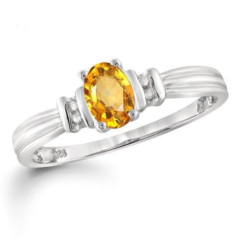 JewelonFire 1/2 Carat T.G.W. Citrine And White Diamond Accent Sterling Silver Ring - Assorted Colors