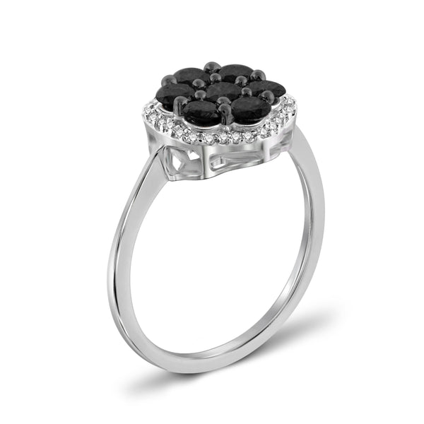 JewelonFire 1.00 Carat T.W. Black And White Diamond Sterling Silver Cluster Ring