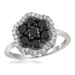 JewelersClub 1.00 Carat T.W. Black And White Diamond Sterling Silver Cluster Ring