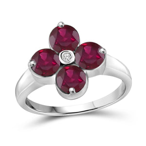 JewelonFire 2 3/4 Carat T.G.W. Ruby and White Diamond Accent Sterling Silver Ring- Assorted Colors