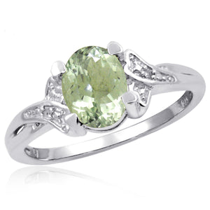JewelonFire 1 1/3 Carat T.G.W. Green Amethyst And White Diamond Accent Sterling Silver Ring - Assorted Colors