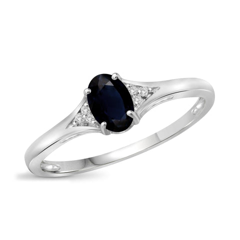 JewelonFire 0.60 Carat T.G.W. Sapphire and White Diamond Accent Sterling Silver Ring
