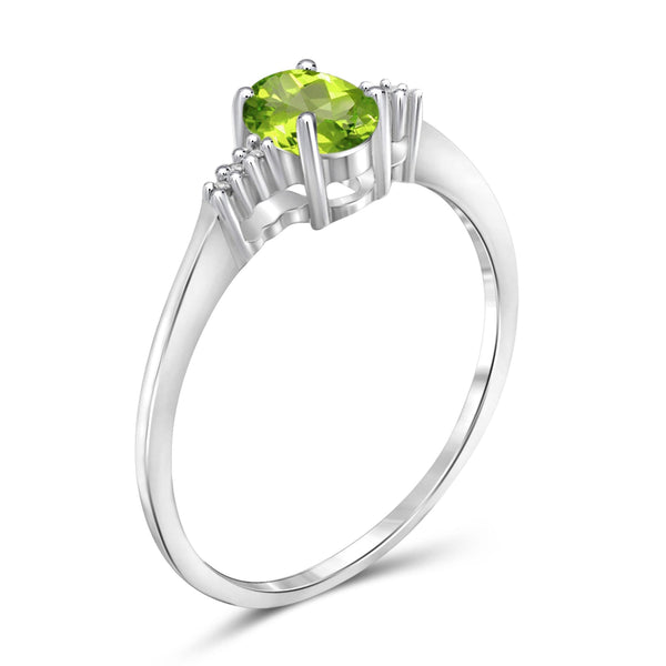 JewelonFire 1/2 Carat T.G.W. Peridot And White Diamond Accent Sterling Silver Ring - Assorted Colors
