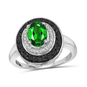JewelonFire 1.15 Carat T.G.W. Chrome Diopside and 1/7 CTW. Black and White Diamond Sterling Silver Ring - Assorted Colors