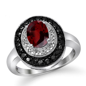 JewelonFire 1 1/2 Carat T.G.W. Garnet And 1/7 Carat T.W. Black & White Diamond Sterling Silver Ring - Assorted Colors