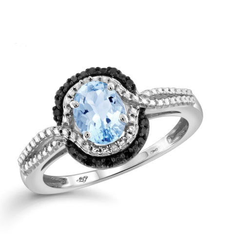 JewelonFire 1.00 Carat T.G.W. Sky Blue Topaz And Black & White Diamond Accent Sterling Silver Ring - Assorted Colors