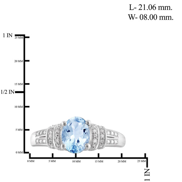 JewelonFire 1 1/2 Carat T.G.W. Sky Blue Topaz And White Diamond Accent Sterling Silver Ring - Assorted Colors