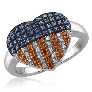 JewelersClub 1/4 Carat T.W. Multi Color Diamond Sterling Silver American Flag Heart Ring
