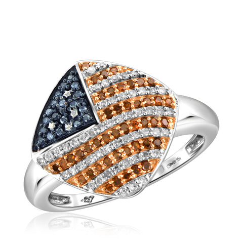 JewelersClub 1/3 Carat T.W. Multi Color Diamond Sterling Silver American Flag Ring