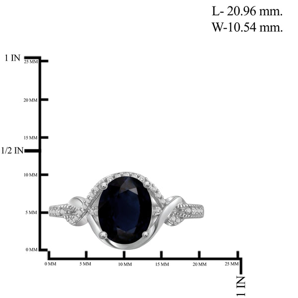 JewelonFire 4.50 Carat T.G.W. Sapphire And 1/20 Carat T.W. White Diamond Sterling Silver 3 Piece Jewelry Set - Assorted Colors