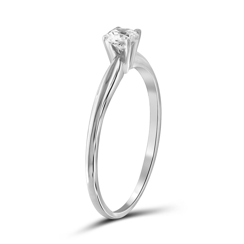 Diamonice White Cubic Zirconia (AAA) Sterling Silver Solitaire Ring