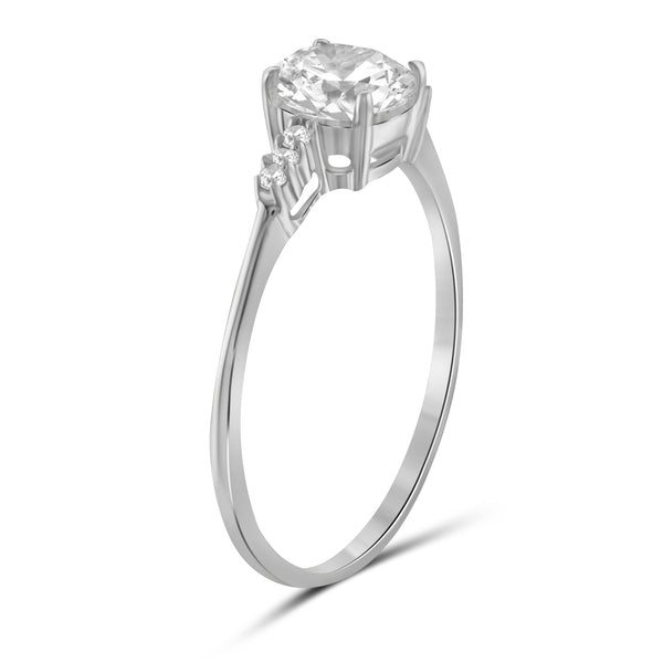 White Cubic Zirconia (AAA) Sterling Silver Engagement Ring
