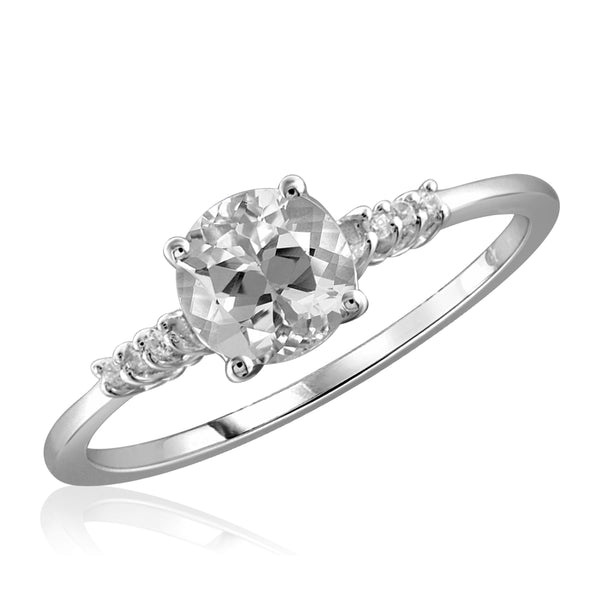 Diamonice White Cubic Zirconia (AAA) Sterling Silver Engagement Ring