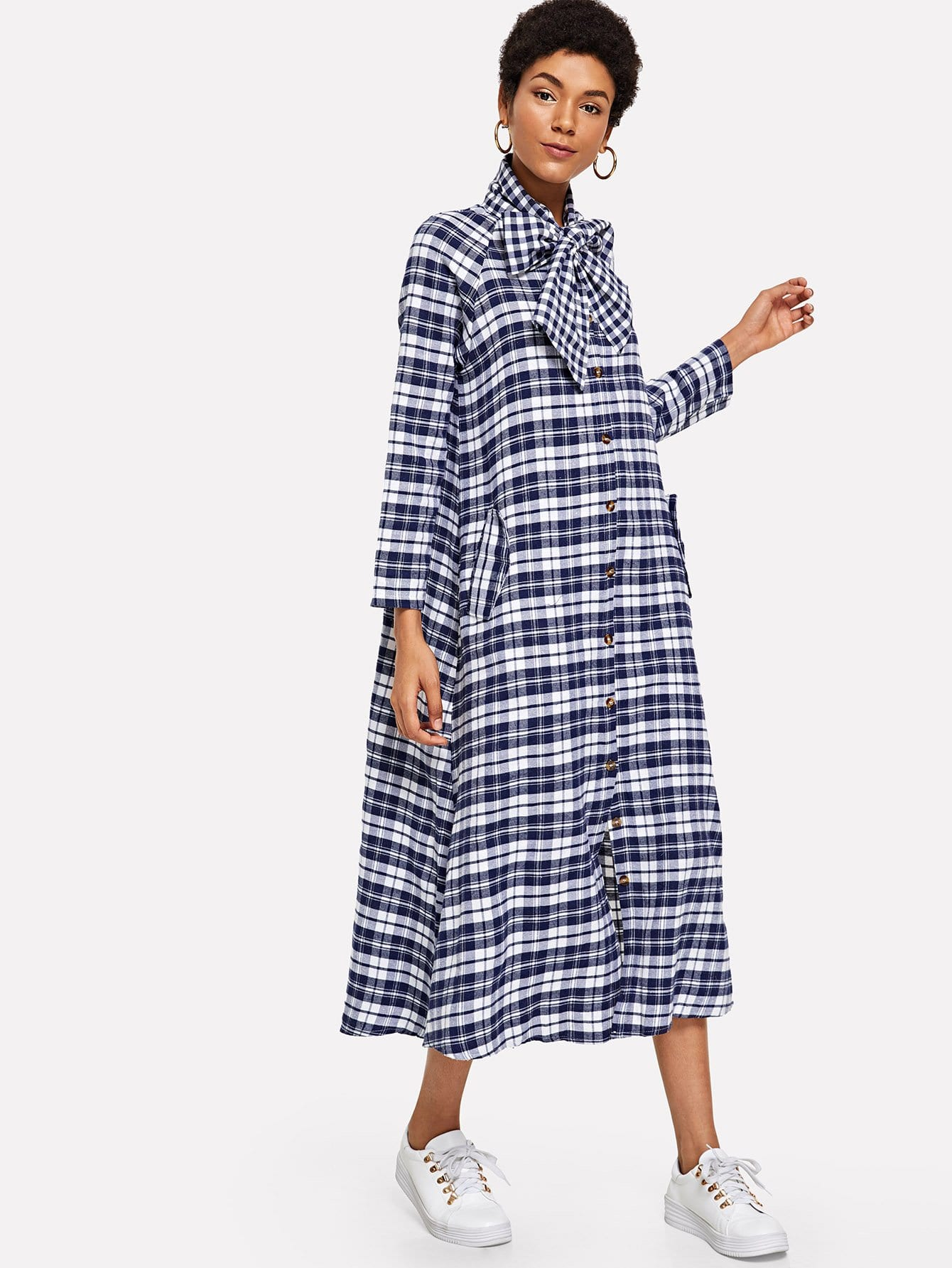 Plaid Knot Neck Single Breasted Dress
