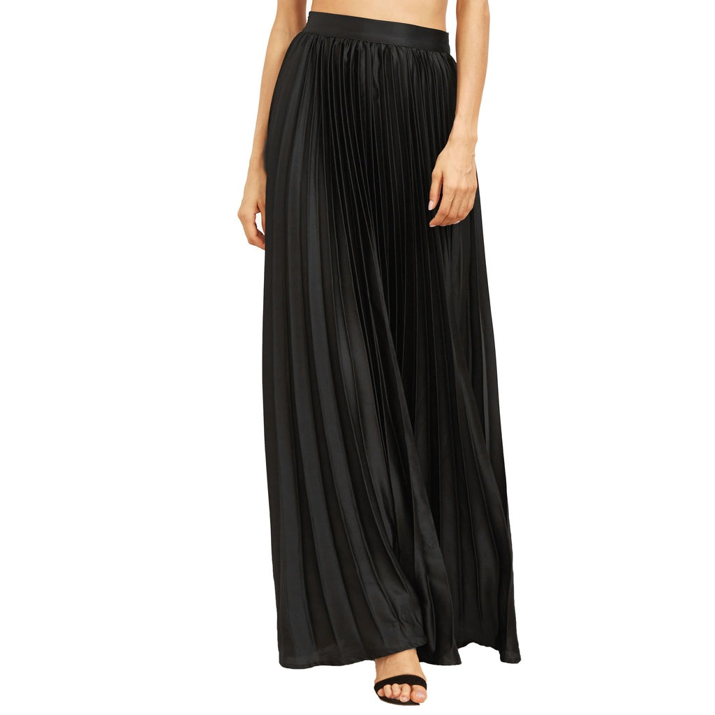 Pleated Flare Floor Length Skirt With Zipper Side