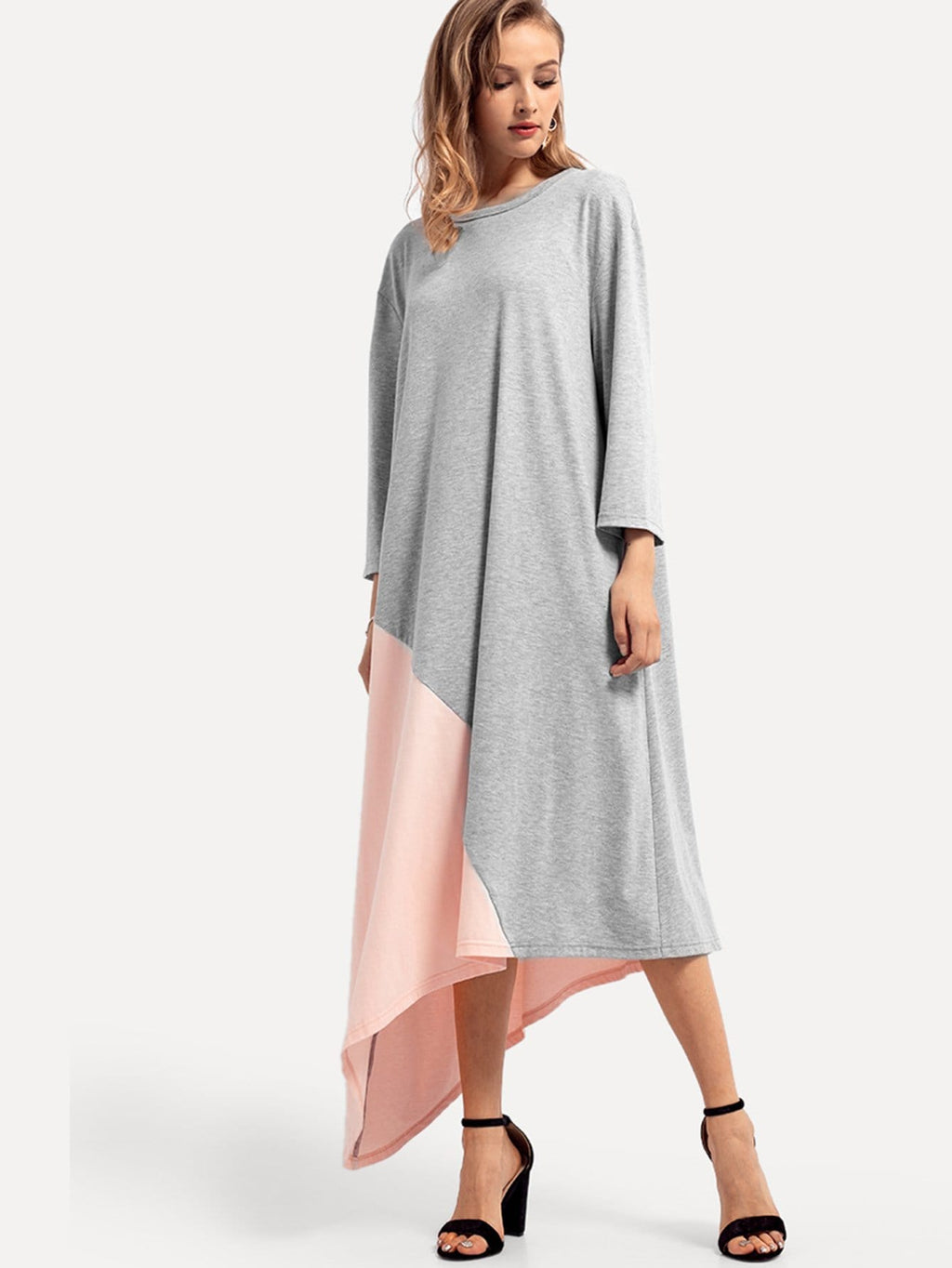 Color Block Asymmetrical Swing Dress