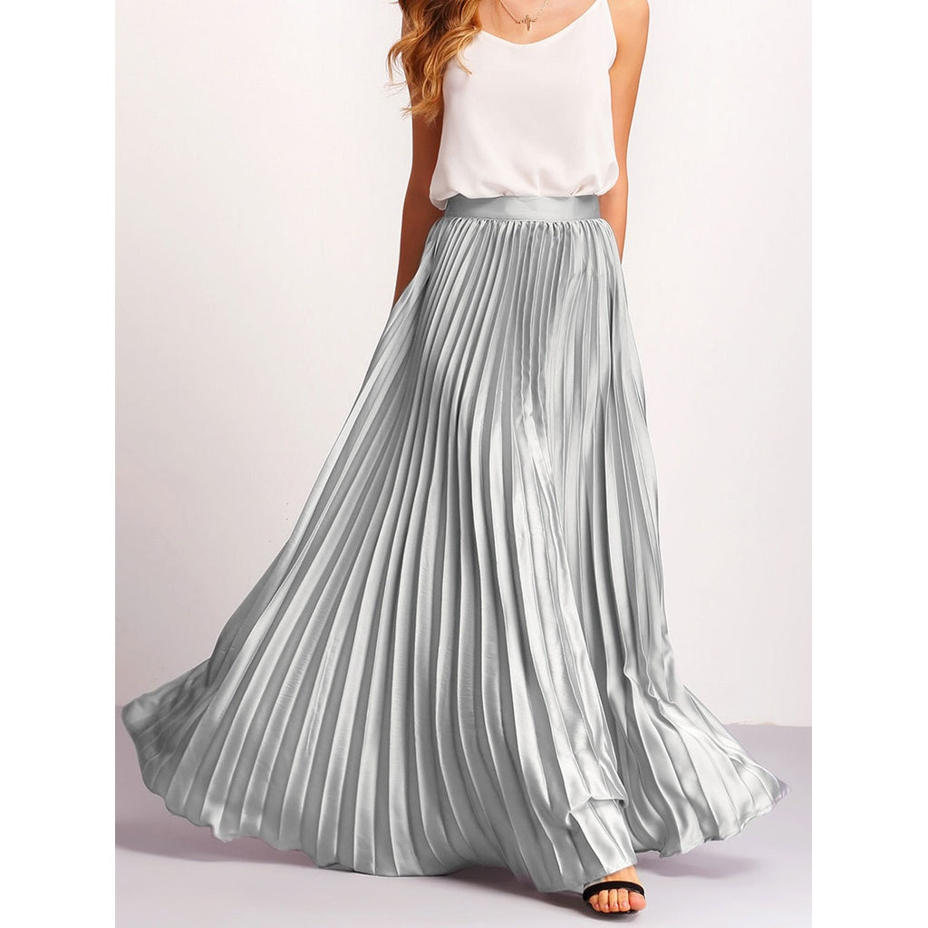 Zipper Side Pleated Flare Maxi Skirt