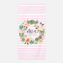 Load image into Gallery viewer, Personalized Watercolor Floral Stripe Towel - The Snuggly Geekling