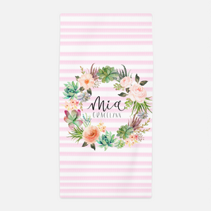 Personalized Watercolor Floral Stripe Towel
